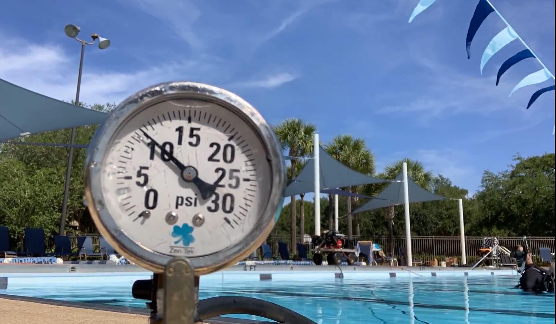 Pressure gauge holding pressure during plumbing test.